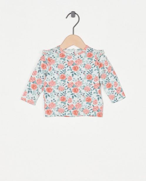 T-shirt à manches longues avec un imprimé fleuri - et ruches - Newborn