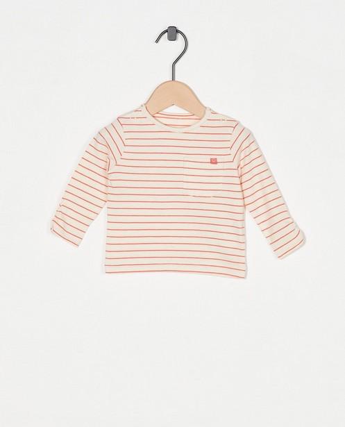 T-shirt écru à manches longues, rayures - avec une petite poche de poitrine - Newborn