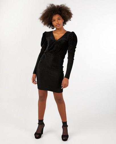 Zwarte ribfluwelen jurk Youh!