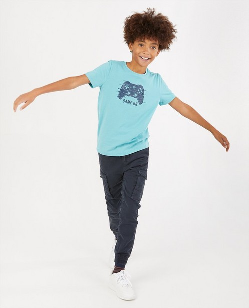 T-shirt bleu, imprimé BESTies - stretch - Besties