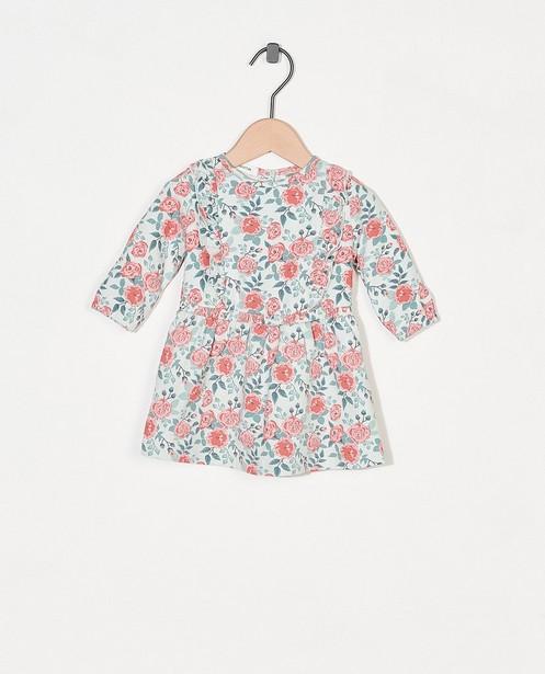 Lichtgroen jurkje met bloemenprint - allover - Newborn