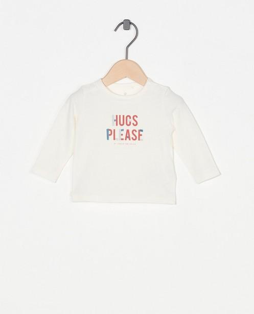 T-shirt blanc à manches longues avec inscription - avec boutons-pressions - Newborn