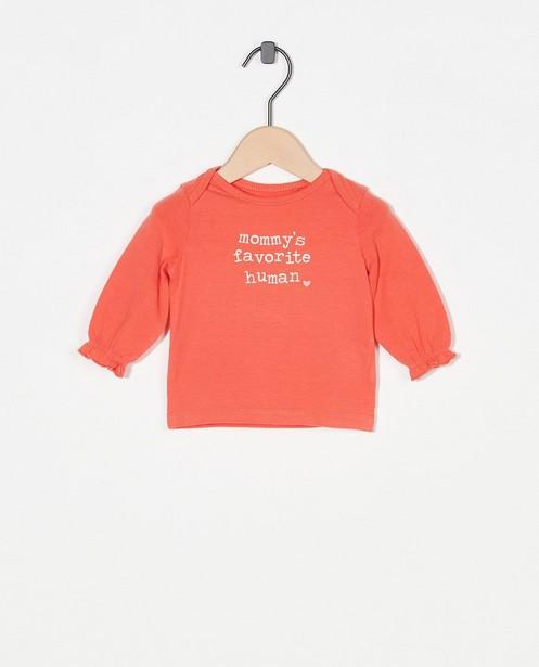 T-shirt rose à manches longues avec inscription - stretch - Newborn