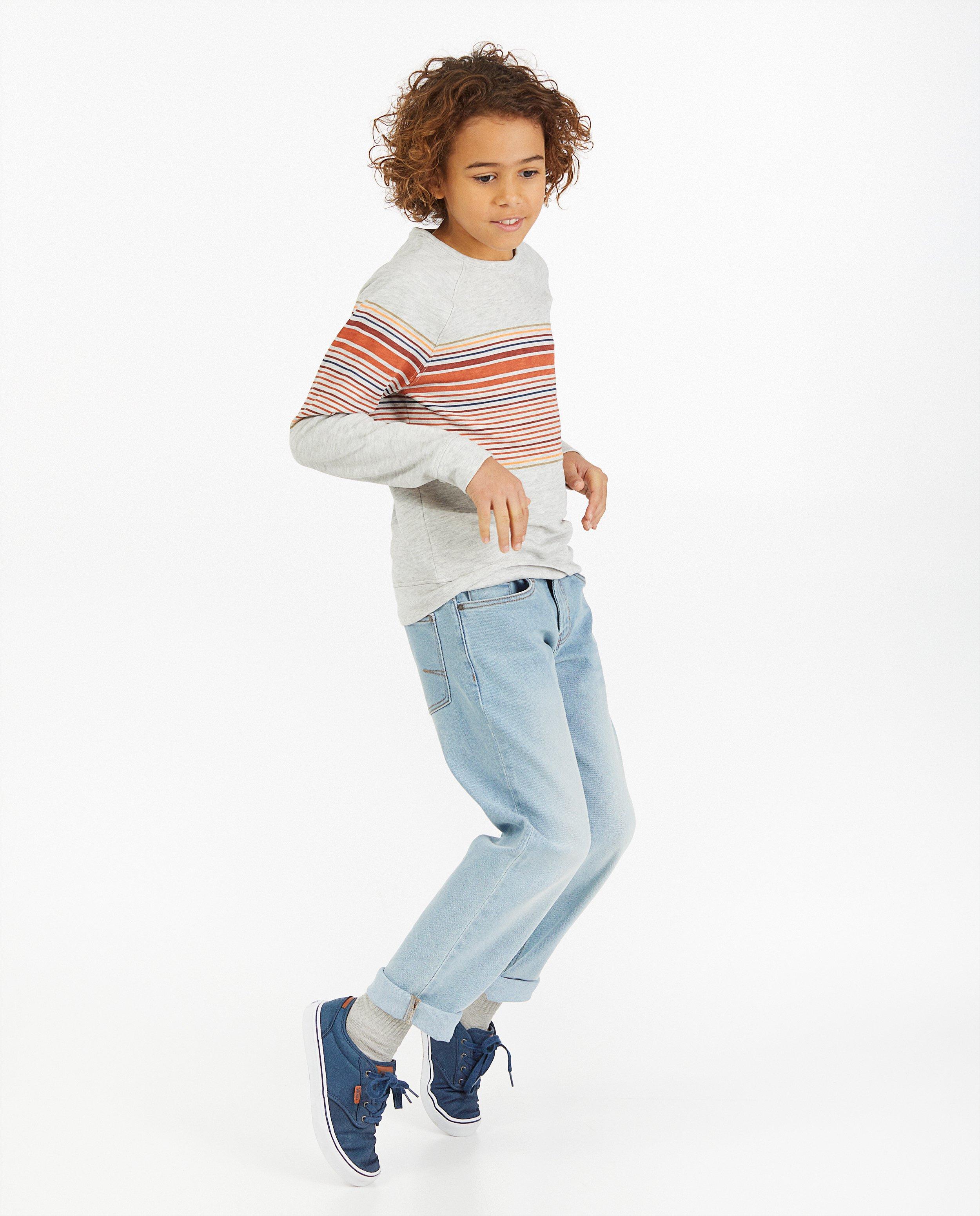 Lichtgrijze sweater met strepen #LikeMe - gemêleerd - Like Me