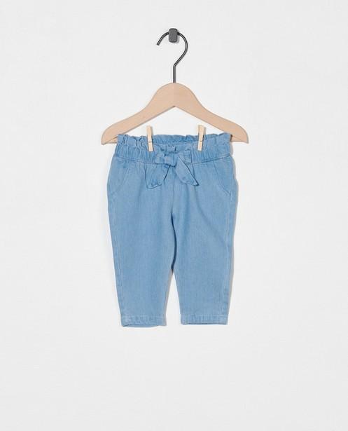 Blauw broekje met strikje - elastische tailleband - Newborn