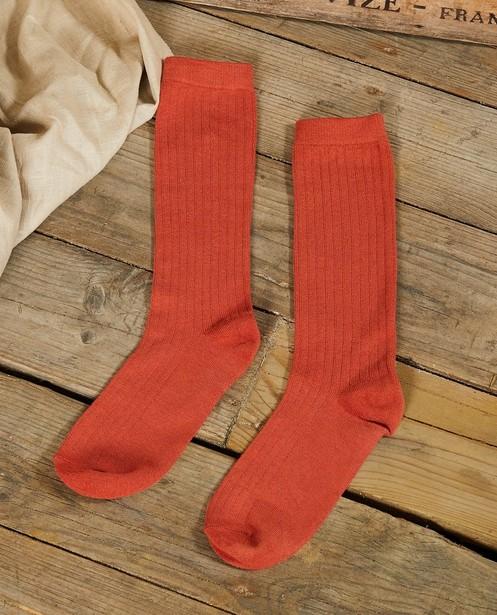 Chaussettes hautes couleur brique Communion - piqûres verticales - JBC