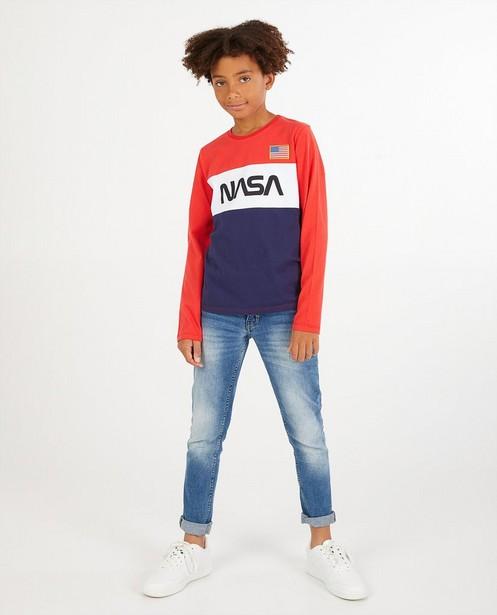 Longsleeve met opschrift NASA - rood, wit en blauw - NASA