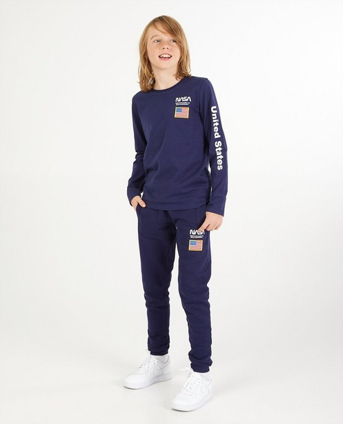 Blauwe longsleeve met print NASA - stretch - NASA