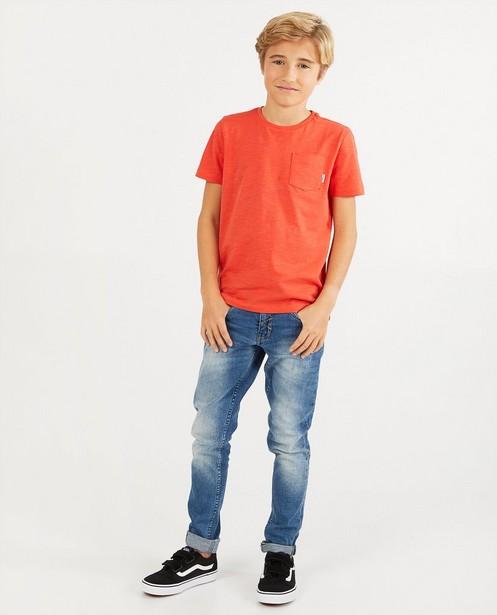 Rood T-shirt met borstzak BESTies - van gevlamd katoen - Besties