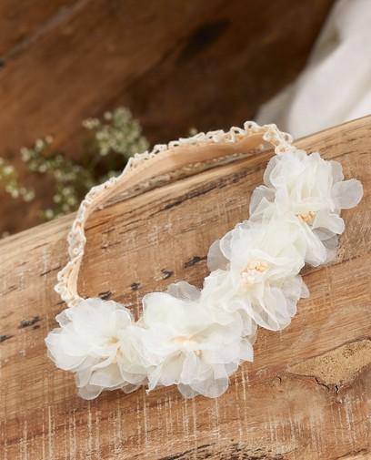 Witte haarband met bloemen Communie