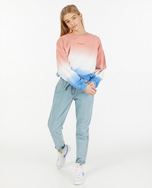 Oversized dip dye sweater - met opschrift - Groggy