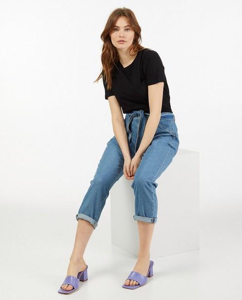 T-shirt noir en coton bio Sora - col rond - Sora