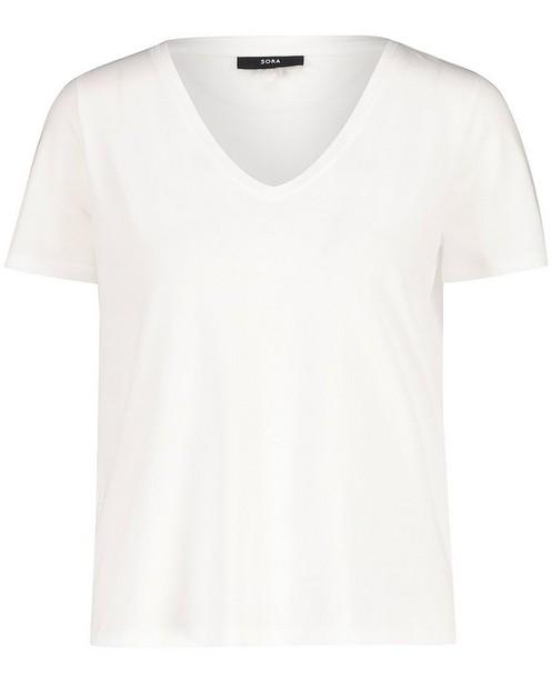 Wit T-shirt van biokatoen Sora - met V-hals - Sora