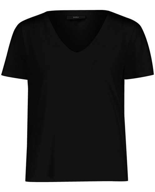 T-shirt noir en coton bio Sora - avec col en V - Sora
