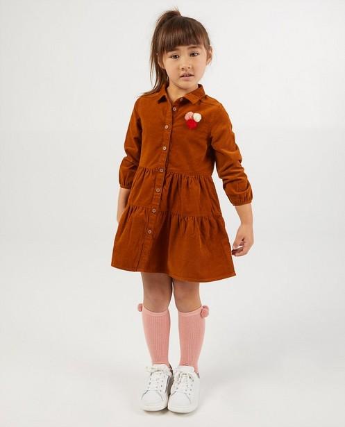 Robe brune en velours côtelé - avec des petits pompons - Milla Star