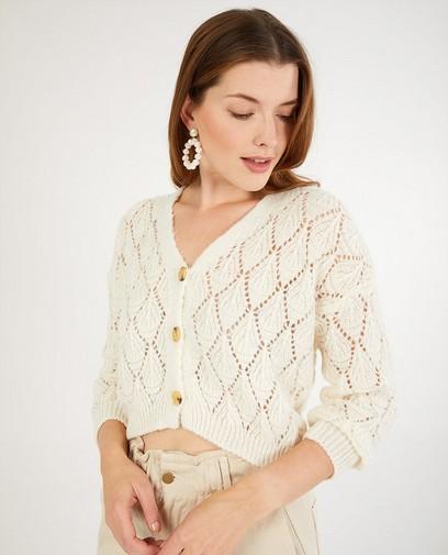 Off-white cardigan met ajourpatroon