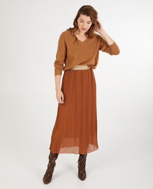 Jupe plissée brune Ella Italia - imprimé intégral - Ella Italia