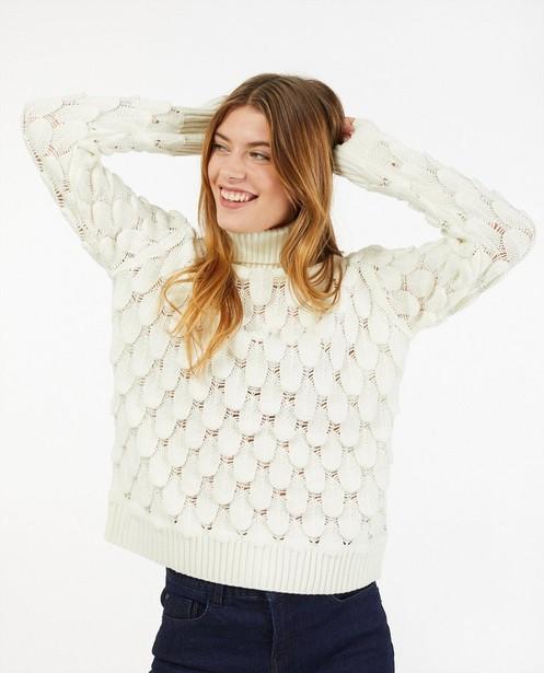 Pull blanc à motif tricoté - plumes - Ella Italia