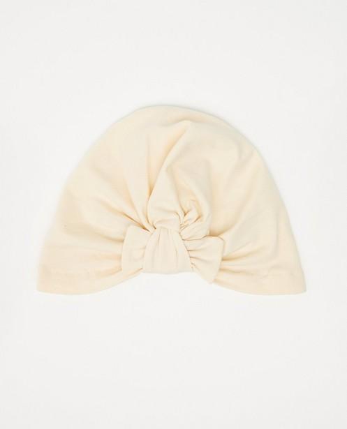 Bonnet écru en coton bio - avec nœud - Cuddles and Smiles