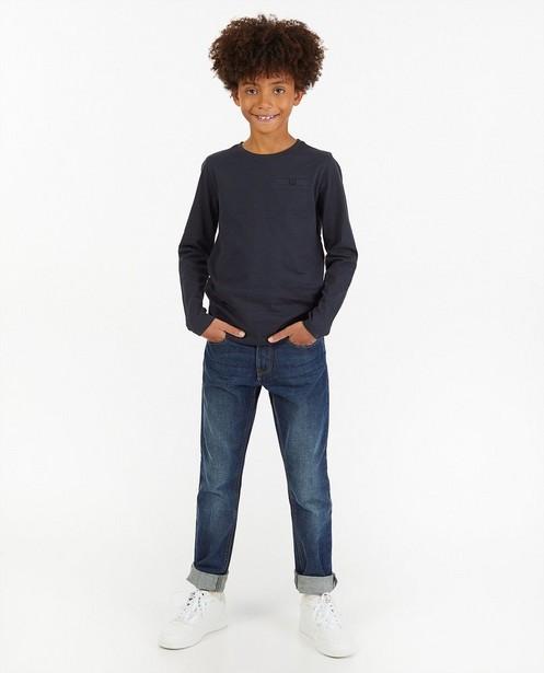 T-shirt bleu à manches longues en coton bio - stretch - Kidz Nation