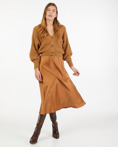 Cardigan brun - à motif tricoté - Ella Italia