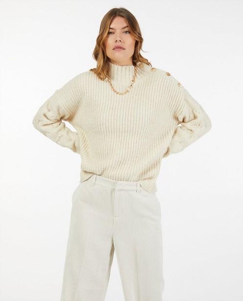 Offwhite trui met gebreid patroon - kabels en strepen - Ella Italia