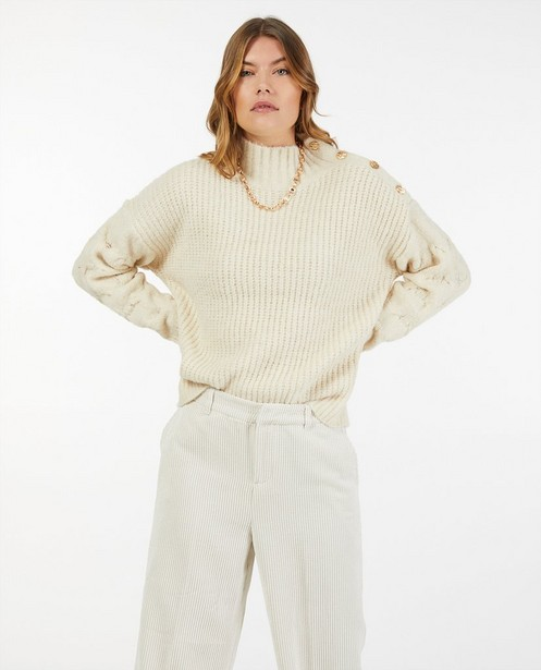 Pull écru à motif tricoté - torsades et rayures - Ella Italia