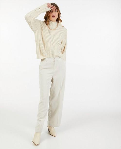 Pulls - Pull écru à motif tricoté