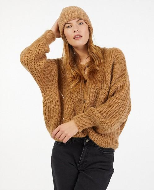 Cardigan beige en tricot - boutonné - Ella Italia