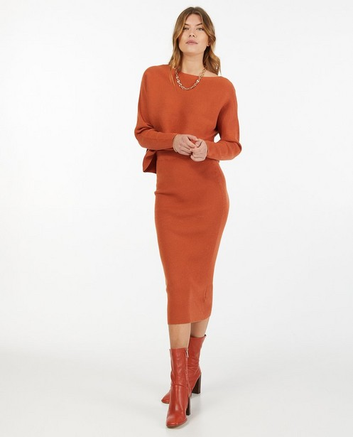 Pull orange en fin tricot Sora - stretch - Sora